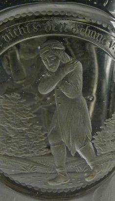 """Detail - Boemia del nord, 1820-30 c.a., cerchia di Anton Simm. Raro calice di committenza ducale con allegorie """"maestre di vita""""."""