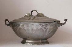 Antique-Art-Nouveau-Jugendstil-Covered-Dish-Kayserzinn-4556-Hugo-Leven-c-1905 Antique Art, Antique Silver, Art Nouveau, Copper Tray, Pewter, Antiques, Dish, Free Shipping, Ebay