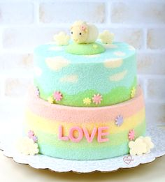 Loving Creations for You: Sweet 'Lamb' Cloud pasture-Rainbow Chiffon Cake Chiffon Cake, Fancy Cakes, Cute Cakes, Types Of Sponge Cake, Ogura Cake, Cloud Cake, Mug Cake Microwave, Kawaii Dessert, Steamed Cake