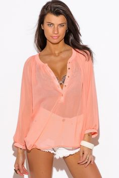 ForeverFinds.com - W By Wenjie  Solid Sheer Chiffon Blouse