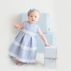 Light blue girl cotton dress -  Flower girl dress - Children holiday clothing