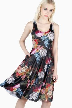 You'll be in good company wearing this gorgeous floral print by Jan Frans van Dael – he was super popular with royalty, who commissioned many of his artworks over the years. Black Milk Clothing, Killer Heels, Long A Line, Skater Dress, Nice Dresses, Floral Prints, Lady, Casual, How To Wear