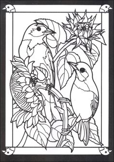 Beautiful Birds In Mated Pairs Stained Glass Coloring Book Dover Covers