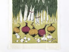 Kitchen Towel Onions Leeks Garlic Lois Long Linen Wall Hanging Dish Towel by NeatoKeen on Etsy