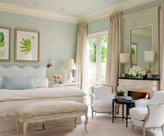 Light blue and khaki decor for master bedroom.