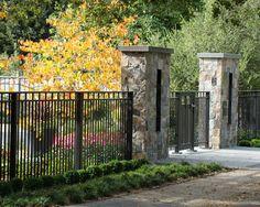 front yard fencing | Black Fence | Yard Decor | Stone Fencing | Landscape Design