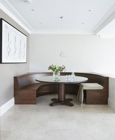 We totally transformed this kitchen, replacing dated, fussy decor with bespoke cabinetry from our Modernist Collection. The result is a simple, beautiful kitchen on a large scale. Bespoke Kitchens, Luxury Kitchens, English Kitchens, Beautiful Kitchens, Surrey, Dining Bench, Scale, Crafts, House
