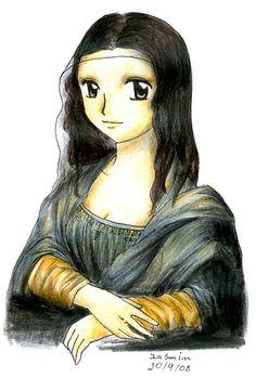 """Mona Lisa, Manga Style"" - art by Nisai, via deviantART Mona Lisa Parody, Mona Lisa Smile, Comic Manga, Famous Artwork, American Gothic, Street Art, Middle School Art, Classical Art, Italian Artist"