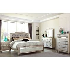 Shop Coaster Furniture Bling Game Master Bedroom Set with great price, The Classy Home Furniture has the best selection of Master Bedrooms to choose from 5 Piece Bedroom Set, Bedroom Sets, Girls Bedroom, Bedrooms, Queen Bedroom, Master Bedroom, White Bedroom, Asian Bedroom, Silver Bedroom