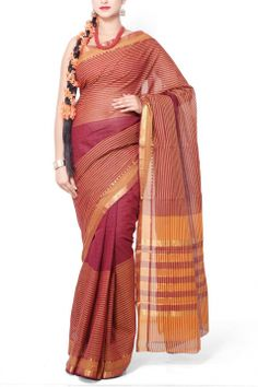 Buy Online Maroon & Orange Striped Cotton Mangalgiri Saree . India's Best Ethnic Wears & Wares