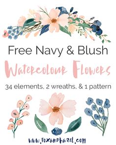 Fox + Hazel: Free Blush & Navy Flower Graphics