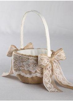 Rustic Burlap Flower Girl Basket Ring Pillow Guest Book Pen Set Wedding Set