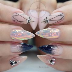 Nude and Black Stiletto Nails With Rhinestones