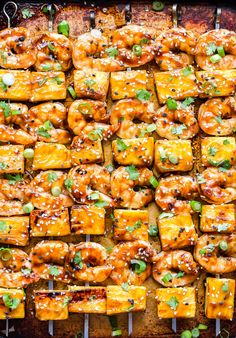 Teriyaki Shrimp and Pineapple Skewers are a quick and easy weeknight dinner! Grilled shrimp and fresh pineapple are glazed with a homemade teriyaki sauce. Teriyaki Shrimp, Teriyaki Tofu, Skewer Recipes, Shrimp Recipes, Pineapple Shrimp, Shrimp Skewers, Kabobs, Sweet Shrimp, Fast Dinners