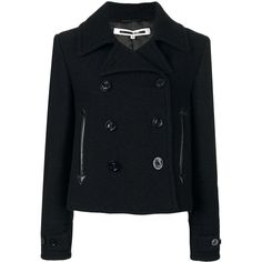McQ Alexander McQueen cropped peacoat (967 CAD) ❤ liked on Polyvore featuring outerwear, coats, black, peacoat coat, pea jacket, cropped coat, gothic coat and goth coat