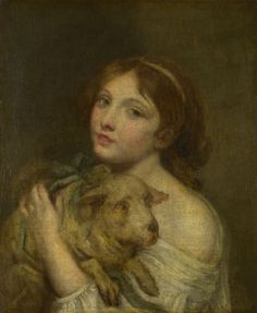 """A Girl with a Lamb"" by Jean-Baptiste Greuze (late 18th century) at the National Gallery, London - From the curators' comments: ""This sentimental and apparently moralistic scene of a girl tenderly holding a lamb, a symbol of gentleness and innocence, is belied by the girl's bared shoulder and parted lips."""
