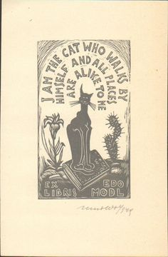 ≡ Bookplate Estate ≡ vintage ex libris labels︱artful book plates - Cats by Remo Wolf (1949)