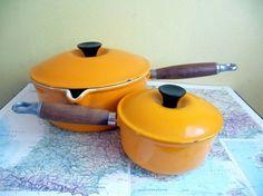 Vintage Le Creuset Tangerine Orange Pot Set