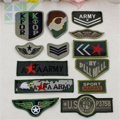 SK DIY Patches Patches army green Military style embroidery cartoon Motif patch sewing clothes Garment appliques DIY accessory