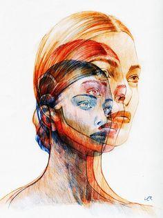 Pen Sketch, Art Sketches, Art Drawings, Portraits, Portrait Art, Arte Gcse, Distortion Art, A Level Art Sketchbook, Ballpoint Pen Art