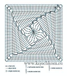 Crochet Mandala, Crochet Motif, Crochet Stitches, Knit Crochet, Crochet Patterns, Crochet Squares, Crochet Granny, Crochet Chart, Yarn Crafts