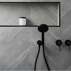 Black tapware and trim, Chevron tiles