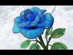 (77) PART 1 tutorial: blue rose out of beads (Как cделать синюю розу из бисера) - YouTube