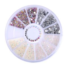 1 Box Colorful Resin Nail Rhinestones Jelly Nail Art Studs 3D Nail Art Decorations in Wheel Manicure Tip Accessories