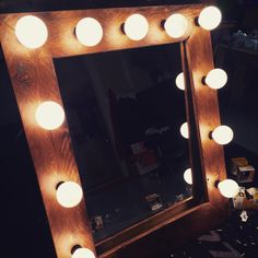 BEAUTIFUL Hollywood Mirror!!! Rustic wood that can be personalized. Message any requests. We can paint pink or any other color or any stain. Has a