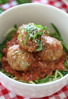 Zoodles and Turkey Meatballs (zucchini noodles) | Skinnytaste [Steam or Microwave Zoodles for 2 Mins]