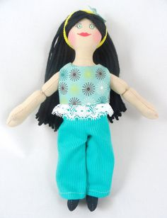Dress Up Doll with Black Hair  Handmade Toy by JoellesDolls