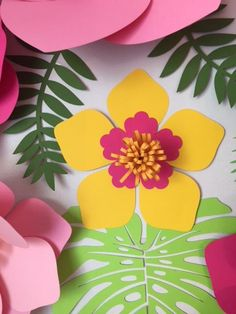Moana Paper Wall Flowers 8 flower set with leaves, Christmas Wall flowers, Giant Paper Flowers, Wall Flowers, Flower Wall, Tropical Flowers, Colorful Flowers, Large Flowers, Vibrant Colors, Mermaid Room Decor, Classroom Decor Themes