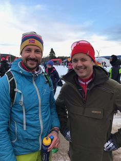 Crown Prince Haakon of Norway and Crown Prince Frederik of Denmark, with obligatory backpacks, take part in the Birkebeinerrennet cross-country event over the mountains from Rena to Lillehammer.