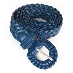 Cinto fino feminino trançado Ref C0498 Azul