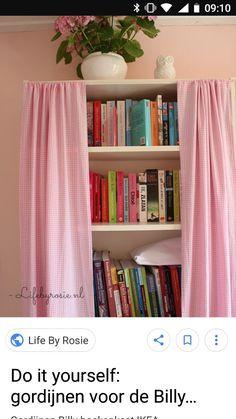 Ikea Billy Hack, Bookshelves, Bookcase, Ikea Regal, Diy Sliding Door, Ikea Curtains, Ikea Hackers, Interior Inspiration, Shelving