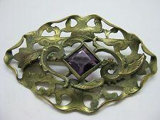 Antique Estate Victorian Dragon Griffon & Purple Stone Sash Pin Brooch