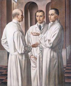 "Los tres cirujanos ("" I tre chirurghi""). Ubaldo Oppi. 1926. Localización: Musei Civici, Vicenza (Italia). https://painthealth.wordpress.com/2016/04/15/los-tres-cirujanos/"