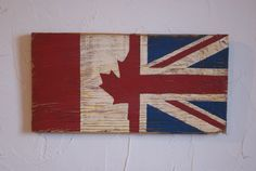 Half Canada Half Union Jack Wood Flag, Distressed, Decorative and in a Variety of Sizes! Rustic Signs, Wooden Signs, Union Jack Bedroom, Canada Celebrations, Wood Crafts, Diy And Crafts, Wood Flag, Square Quilt, String Art