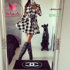 2017 Women's Plaid Spring Summer Dresses High Auality Casual Dress Long Sleeve Turn Down Collar Dress With Belt Plus size Romper With Skirt, Mini Shirt Dress, Long Sleeve Mini Dress, Dress Skirt, Tunic Shirt, Pleated Skirt, Dress Long, Skater Dress, Dress Pants