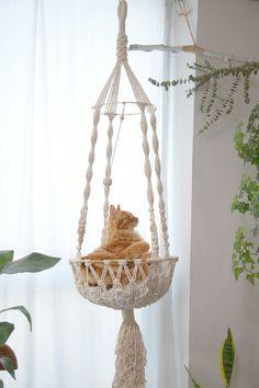 Macrame cat hammock Woven hanging dog bed Macrame wall cat swing Cat lover gifts Cute boho Crochet r Cat Room, Macrame Plant Hangers, Cat Supplies, Cat Furniture, Plywood Furniture, Furniture Design, Cat Tree, Cat Lover Gifts, Dog Bed