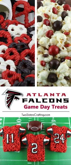 If you are an Atlanta Falcons fan and it is Game Day, you'll want to make one (or all) of our Atlanta Falcons Game Day Treats for your football watching family members. These are fun Red and White football desserts that are perfect for a game day football Game Day Snacks, Game Day Food, Party Snacks, Team Snacks, Football Desserts, Football Food, Falcons Football, Football Banquet, Football Parties