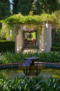 I love the mediterranean garden and the lush plantings here