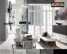Mieszkanie w stylu loft w miejskich kolorach szarości z designerskimi dodatkami. Minimalistyczny charakter wnętrza podkreśla dekoracja filaru: struktura surowego betonu. To przestrzeń kipiąca aktywnością, a równocześnie azyl dla niespokojnych duchów. Portal, Shelving, Divider, Loft, Furniture, Home Decor, Living Room, Shelves, Decoration Home