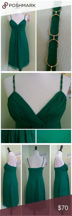 BRIGHT green chiffon dress chain straps Chain straps with chiffon ribbon interwoven. Dress is a very bright, saturated emerald green but refused to photograph true to color. Closest is the bottom right panel in the second photo. Shoshanna Dresses