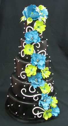 Black, Teal & Lime wedding cake
