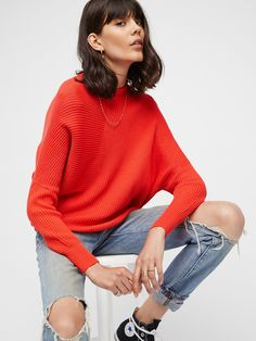 Hot Coral Downtown Pullover at Free People Clothing Boutique