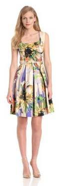 London Times Women's Printed Fit And Flare Dress With Belt
