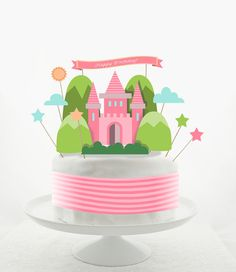 Cake Topper Set - Cake Decorations - PRINTABLE - DIY - Princess Castle - Pink - Girly - Fairytale - Happy Birthday
