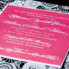Custom fresh wedding invitation design by Paperwhites (paperwhites-invitations.com) #black #white #pink #floral #script