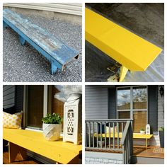 Yellow Bench Outdoor Paint Project- Refinishing a Bench- Front Porch Decorating- Satori Design for Living